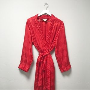 Christian Dior Vintage Red Robe Diamond Print